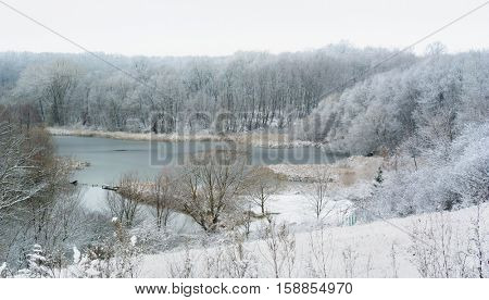 Snowy pond with Trees in snow