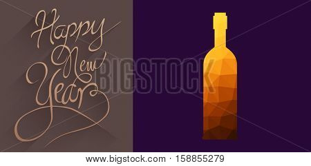 animated bottle with mosaic against classy new year greeting