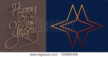 Graphic double star against classy new year greeting