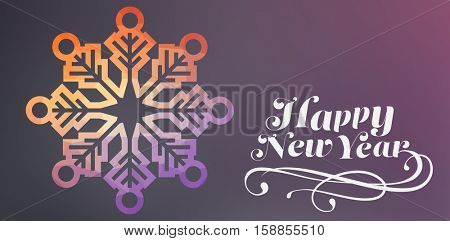 Graphic snowflake against colored background with city