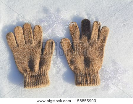 winter mitten in the snow, winter clothes