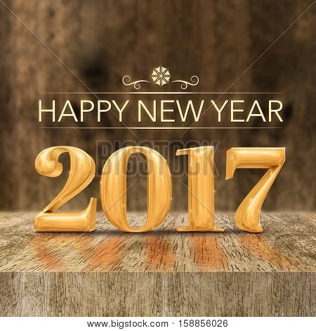 Gold Shiny Happy New Year 2017 (3D Rendering) At Wooden Block Table And Blur Wood Wall,holiday Greet