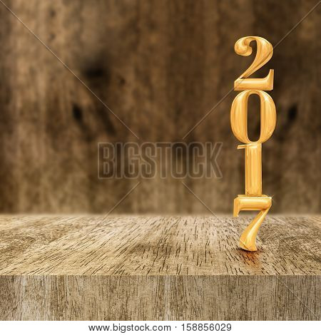 Gold Shiny 2017 New Year (3D Rendering) At Wooden Block Table And Blur Wood Wall,holiday Greeting Ca