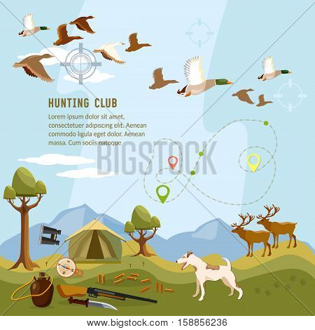 Hunting background flying duck deers in the mountain shotgun hunter compass map