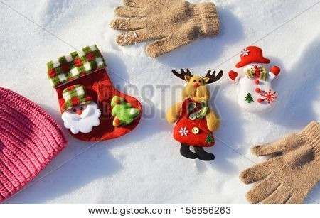 Christmas toys in the snow, a winter celebration