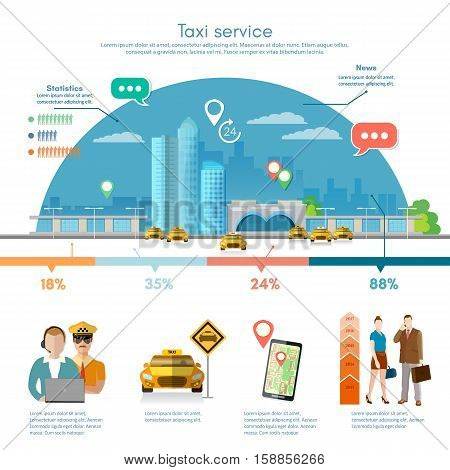 Taxi service infographics on a background the big city mobile app for booking service. Passengers driver taxi station yellow cab flat vector illustration for business