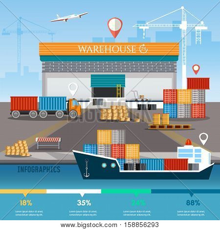 Warehouse infographics industrial sea port with containers cargo ships logistic and delivery service