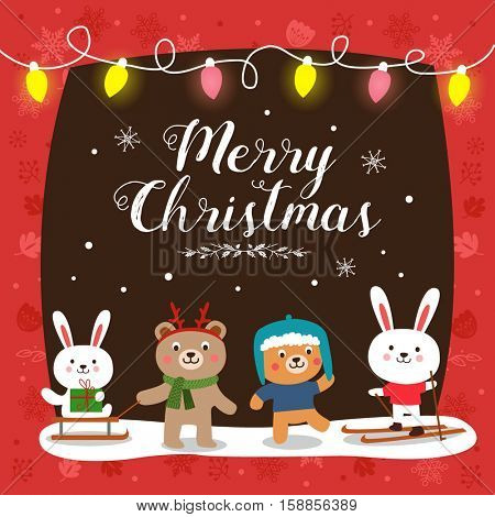 Christmas card with cute cartoon animals