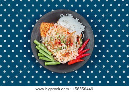 Spicy And Sour Mixed Vegetable Salad With Rice Noodle Served .