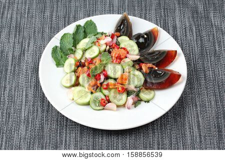 Spicy Cucumber Salad With Dried Shrimp And  Preserved Egg.