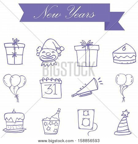 Purple icon new years collection stock vector art