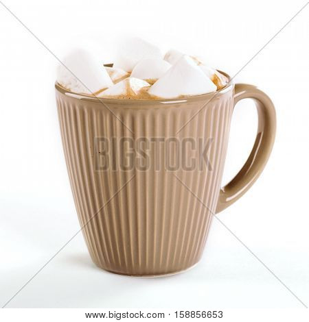 cup of hot cocoa with marshmallows on a white background