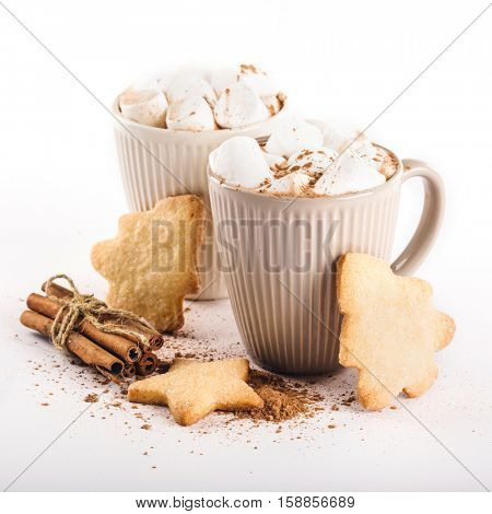 cup of hot cocoa with marshmallows, cookies and cinnamon on a white background