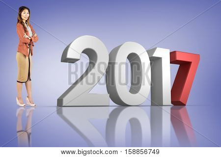 Smiling businesswoman with crossed arms against purple vignette and 3D new year