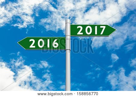 Digital image of new year 2017 against view of beautiful sky and clouds