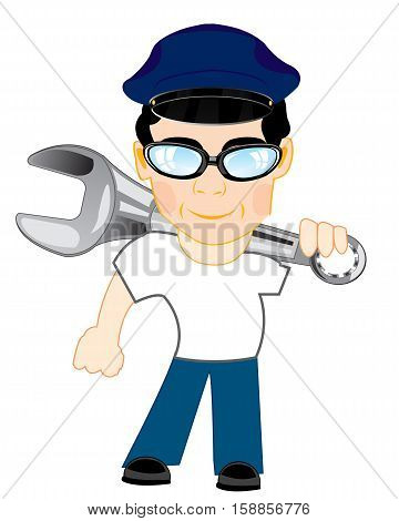 Man master with tools key on white background is insulated