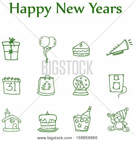 Colletion style icon of new year element illustration