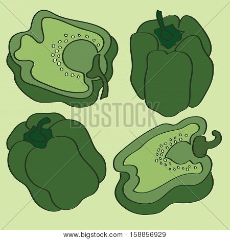 This is a vector illustration of whole and sliced green bell peppers.