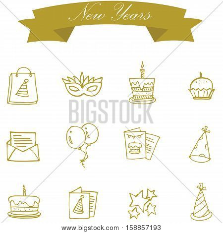 Element of new year icons vector art collection stock