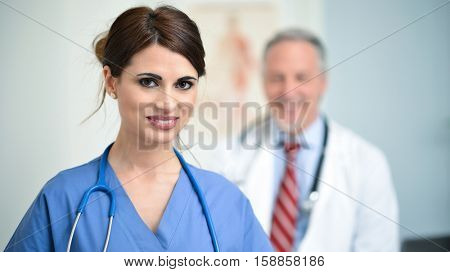 Doctor and nurse in a medical studio