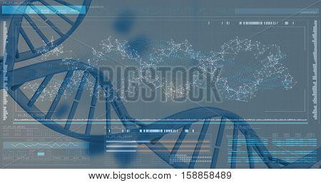 3D Helix diagram of DNA on bkack background