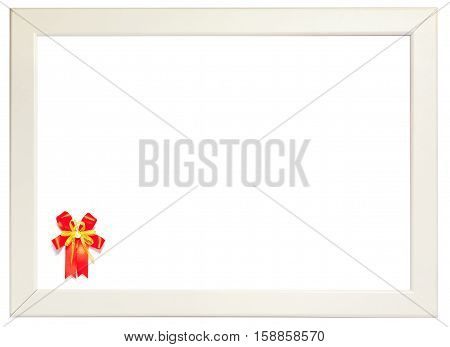Red ribbon decorated on left corner of white frame season greeting concept. (left space for text).