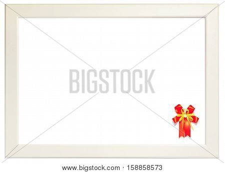 Red ribbon decorated on right corner of white frame season greeting concept. (left space for text).