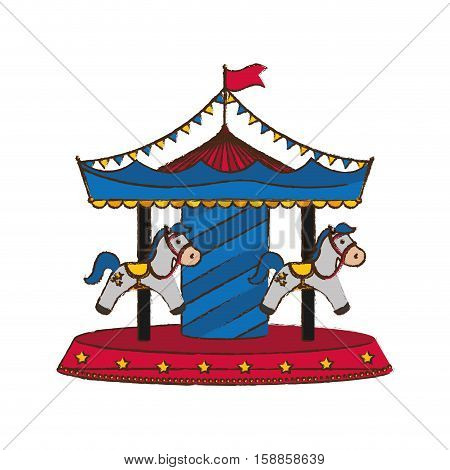 Carrousel circus festival icon vector illustration graphic design