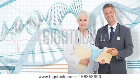 Portrait of male and female doctors with medical reports against 3D helix diagram of dna