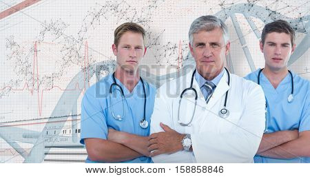 Portrait of confident male doctor with surgeons against 3D genes diagram on white background