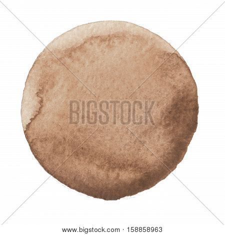 Watercolor Hand Painted Circle. Beautiful Design Elements. Brown Background
