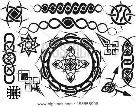 Ornament elements for design in celtic style - a vector