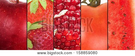 Collage of red fruits and vegetables . Healthy food for wellness concept
