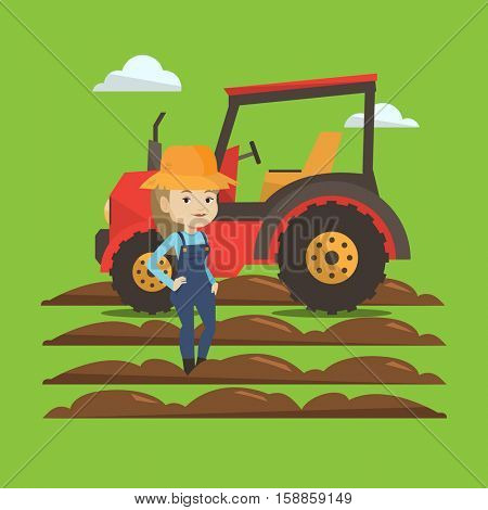 Caucasain happy female farmer in summer hat standing on the background of tractor preparing land. Young smiling farmer standing in front of tractor. Vector flat design illustration. Square layout.
