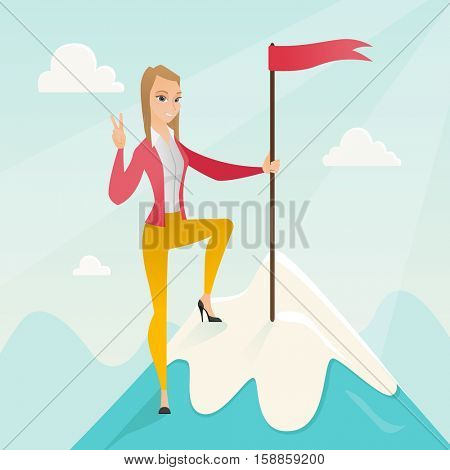 Successfull business woman achieved flag on the top of mountain symbolizing business success. Woman celebrating her business success on peak of mountain. Vector flat design illustration. Square layout