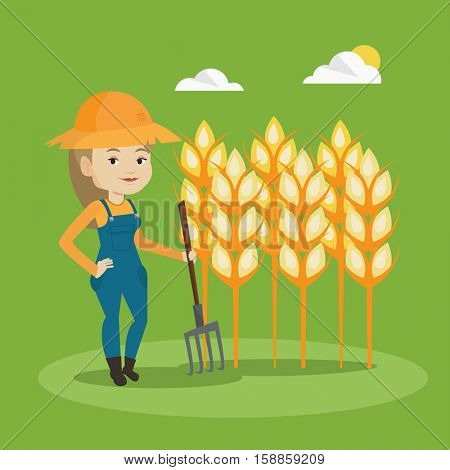 Happy caucasian farmer in summer hat standing with a pitchfork on the background of wheat field. Female farmer working with pitchfork in wheat field. Vector flat design illustration. Square layout.