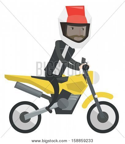 Young man in helmet riding a motorcycle. Man driving a motorbike. Hipster man with beard riding a motorcycle. Vector flat design illustration isolated on white background.