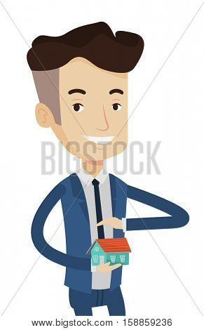 Caucasian businessman holding house model. Real estate agent protecting model of the house. Property insurance concept. Man insuring house. Vector flat design illustration isolated on white background