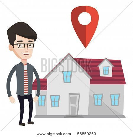 Young smiling real estate agent standing on the background of map pointer above the house. Happy male real estate agent offering house. Vector flat design illustration isolated on white background.