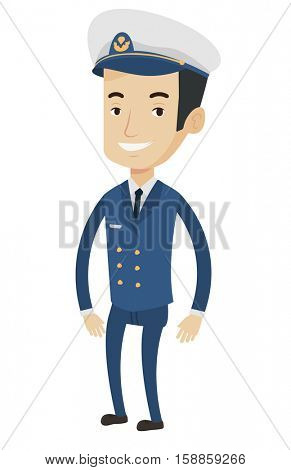 Caucasian smiling ship captain in uniform. Illustration of full length of cheerful ship captain standing. Vector flat design illustration isolated on white background.