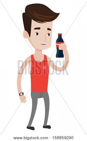 Caucasian man holding soda beverage in bottle. Smiling young man standing with bottle of soda. Cheerful man drinking soda from bottle. Vector flat design illustration isolated on white background.