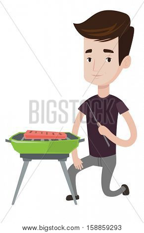 Young man sitting next to barbecue. Caucasian man cooking meat on the barbecue grill. Man having a barbecue party. Man preparing barbecue. Vector flat design illustration isolated on white background.