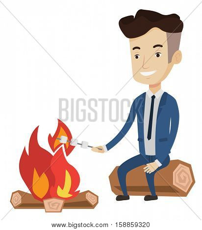 Young businessman in suit sitting near campfire. Caucasian man roasting marshmallow over campfire. Businessman relaxing near campfire. Vector flat design illustration isolated on white background.