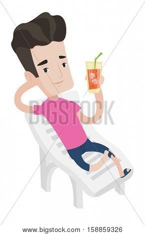 Young joyful man sitting on a beach chair. Happy man drinking a cocktail on a beach chair. Caucasian man on a beach chair with cocktail. Vector flat design illustration isolated on white background.