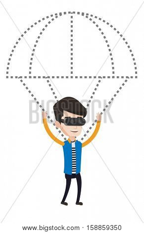Man wearing virtual reality glasses and flying with parachute. Man in virtual reality headset having fun while flying in virtual reality. Vector flat design illustration isolated on white background.