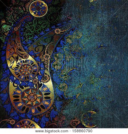 oriental floral design on shabby blue background