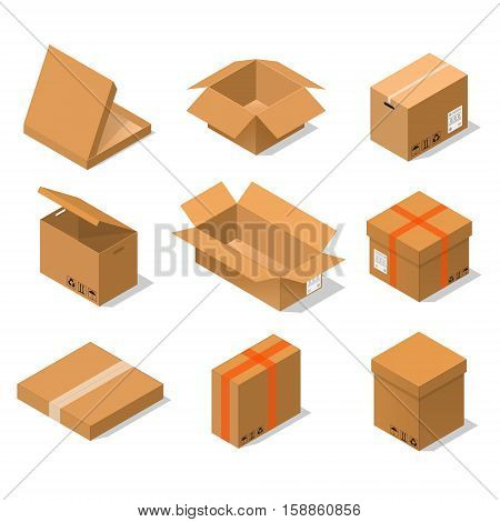Cardboard Boxes Set Isometric View Various Shapes Of Packaging - Open, Close, Big And Small. Vector illustration