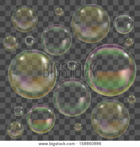 Soap Bubbles with Reflection Set on Transparent Background. Symbol Of Purity Vector illustration
