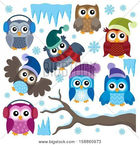 Winter owls thematic set 1 - eps10 vector illustration.