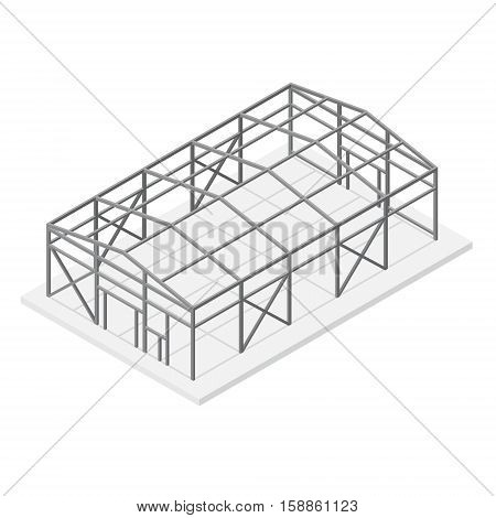 Building Hangar or Warehouse Metal Construction Frame Roof and Support Isometric View. Vector illustration